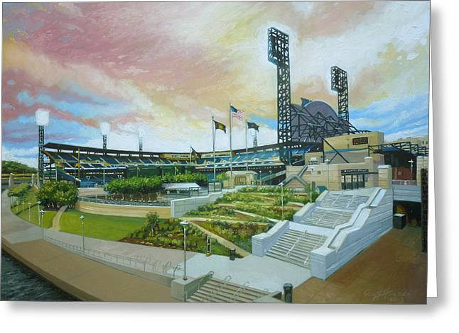 Baseball Paintings Greeting Cards - PNC Park Pittsburgh Pirates Greeting Card by Gregg Hinlicky