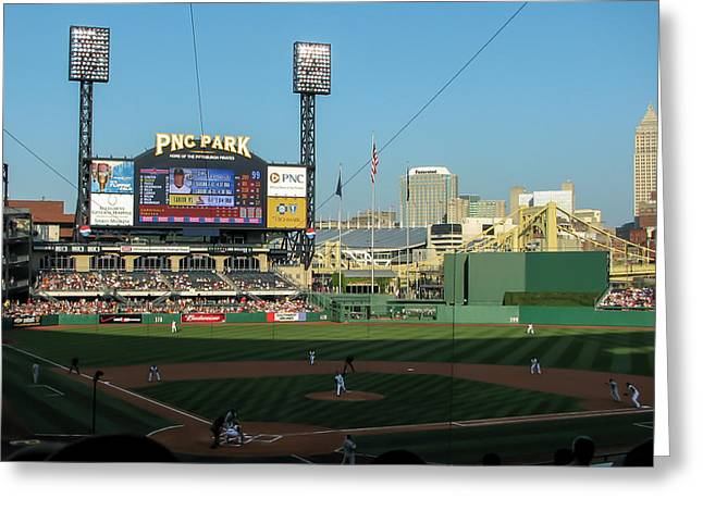 Clemente Greeting Cards - PNC Park Greeting Card by Tom Gort