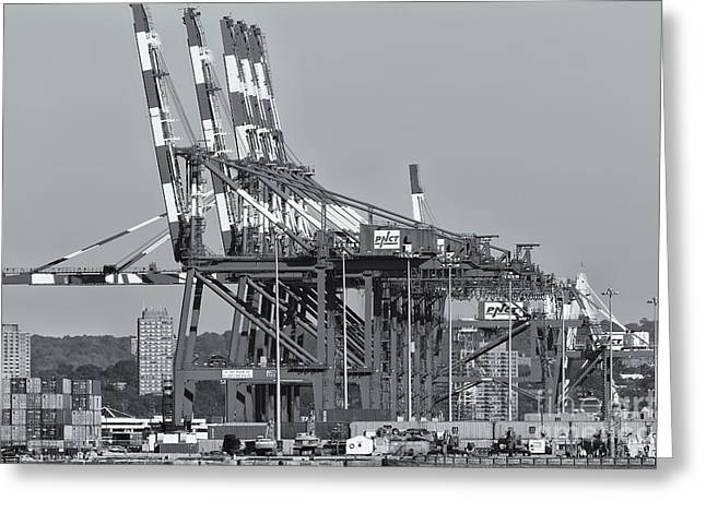Mercantilism Photographs Greeting Cards - PNCT Facility in Port Newark-Elizabeth Marine Terminal II Greeting Card by Clarence Holmes