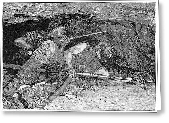 Pneumatic Drill Greeting Cards - Pneumatic mining drills, artwork Greeting Card by Science Photo Library