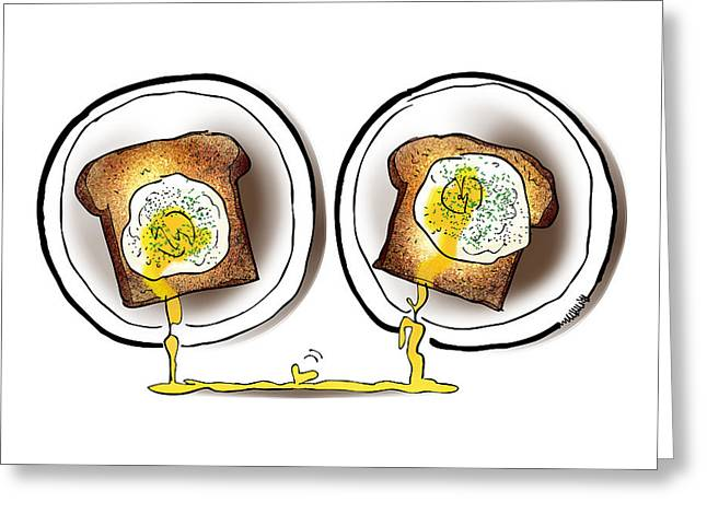 Poached Egg Love Greeting Card by Mark Armstrong