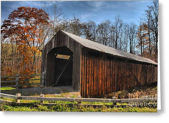 Locust Greeting Cards - Pocahontas County WV Covered Bridge Greeting Card by Adam Jewell