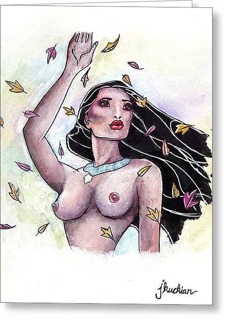 Slave Society Greeting Cards - Pocahontas Greeting Card by John Kuckian