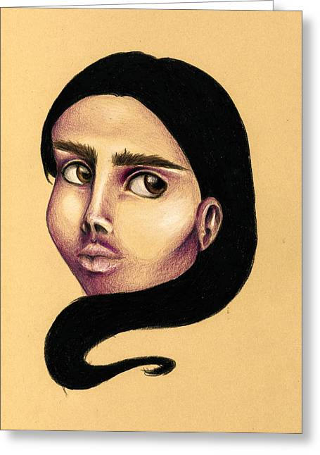 Indigenous Drawings Greeting Cards - Pocahontas Greeting Card by Keidi Sel