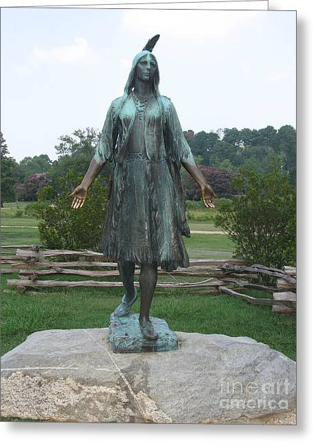 Bronce Greeting Cards - Pocahontas Sculpture Greeting Card by Christiane Schulze Art And Photography