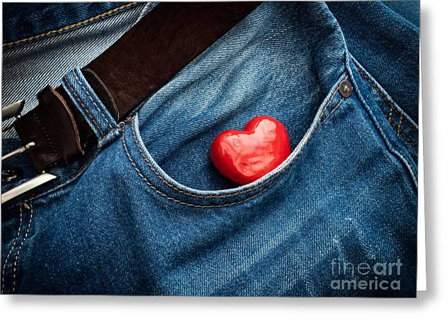 Casual Blue Jeans Greeting Cards - Pocket heart Greeting Card by Sinisa Botas