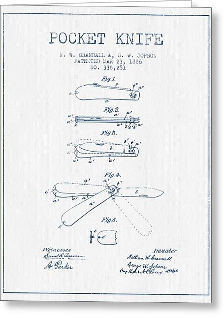 Knife Digital Art Greeting Cards - Pocket Knife Patent Drawing from 1886 -  Blue Ink Greeting Card by Aged Pixel