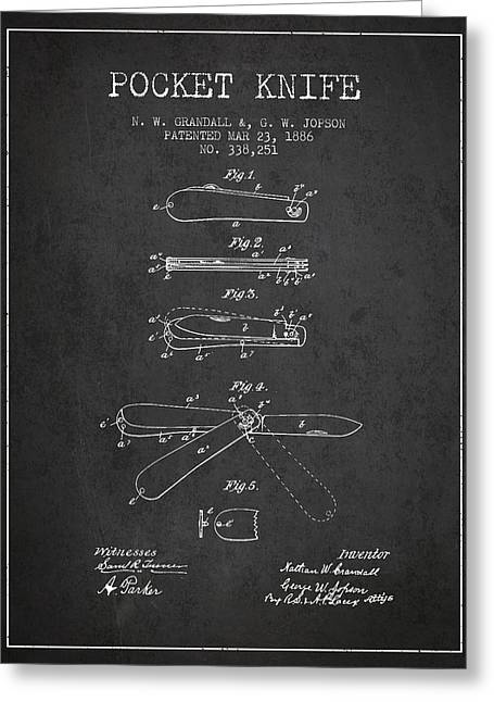 Knife Digital Art Greeting Cards - Pocket Knife Patent Drawing from 1886 - Dark Greeting Card by Aged Pixel