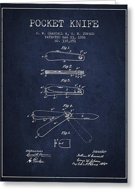 Knife Digital Art Greeting Cards - Pocket Knife Patent Drawing from 1886 - Navy Blue Greeting Card by Aged Pixel