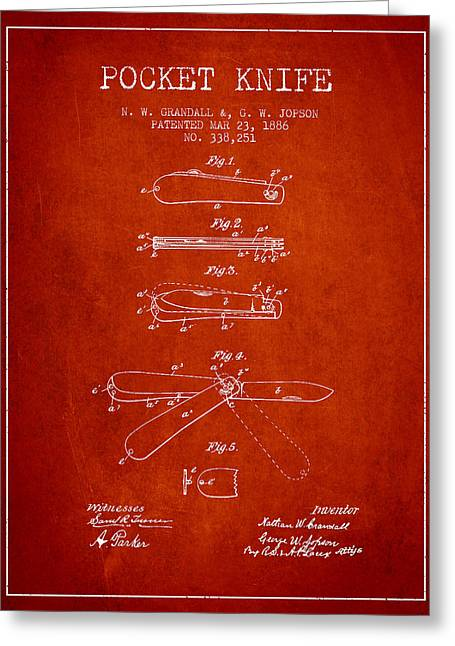 Knife Digital Art Greeting Cards - Pocket Knife Patent Drawing from 1886 - Red Greeting Card by Aged Pixel