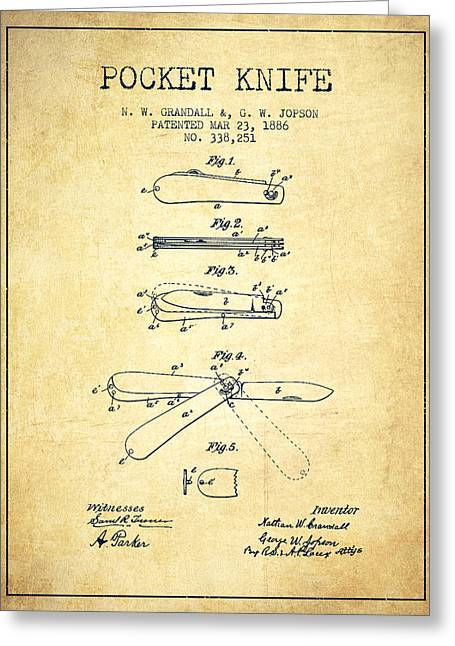 Knife Digital Art Greeting Cards - Pocket Knife Patent Drawing from 1886 - Vintage Greeting Card by Aged Pixel