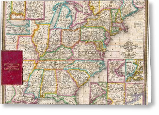 Geographic Location Greeting Cards - Pocket Map of the United States Greeting Card by Paul Fearn