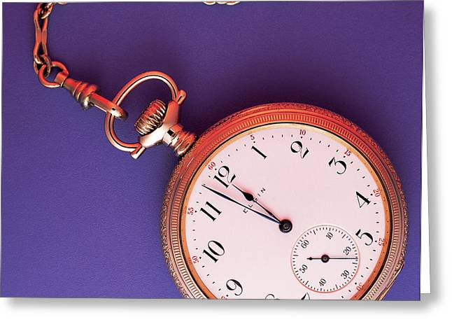 Gold Chain Greeting Cards - Pocket Watch Greeting Card by Dale Boyer