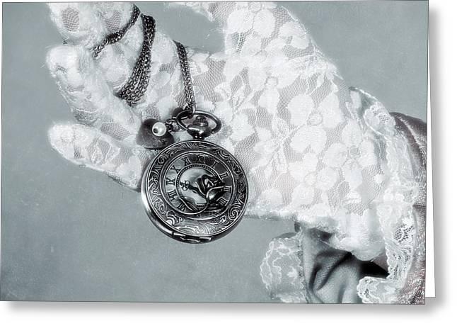 Glove Greeting Cards - Pocket Watch Greeting Card by Joana Kruse