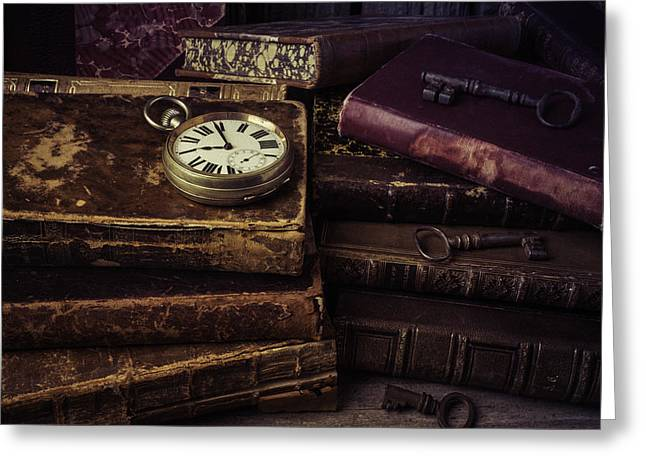 Timepieces Greeting Cards - Pocket Watch On Old Book Greeting Card by Garry Gay
