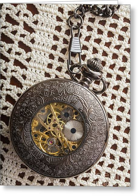 Lace Photographs Greeting Cards - Pocket Watch over Lace Greeting Card by Edward Fielding