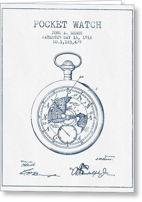 Watches Greeting Cards - Pocket Watch Patent from 1916 - Blue Ink Greeting Card by Aged Pixel