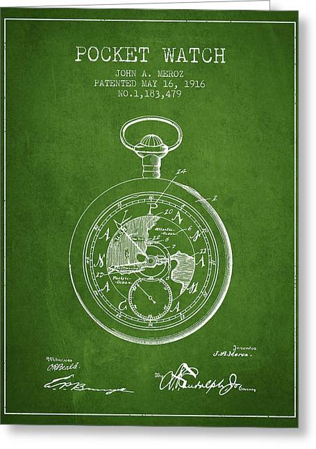Pocket Watch Greeting Cards - Pocket Watch Patent from 1916 - Green Greeting Card by Aged Pixel