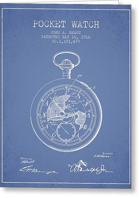 Pocket Watch Greeting Cards - Pocket Watch Patent from 1916 - Light Blue Greeting Card by Aged Pixel