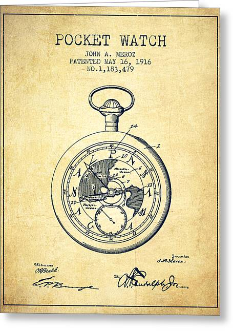 Pocket Watch Greeting Cards - Pocket Watch Patent from 1916 - Vintage Greeting Card by Aged Pixel