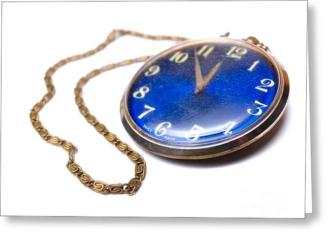 Golden Chain Greeting Cards - Pocket watch Greeting Card by Sinisa Botas