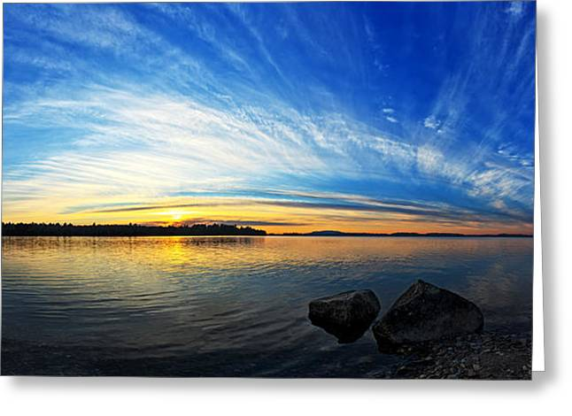 Maine Landscape Greeting Cards - Pocomoonshine Sunset 1 Panorama Greeting Card by Bill Caldwell -        ABeautifulSky Photography