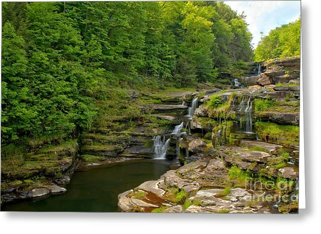 Ledge Photographs Greeting Cards - Poconos Ledges Waterfall Greeting Card by Adam Jewell
