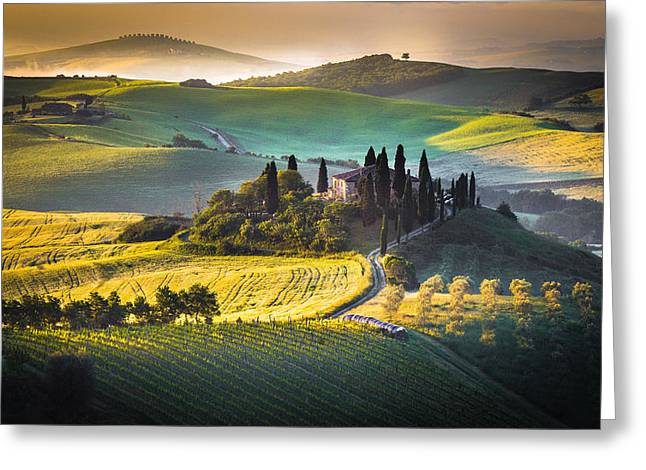 Italian Landscapes Greeting Cards - Podere Belvedere Greeting Card by Stefano Termanini