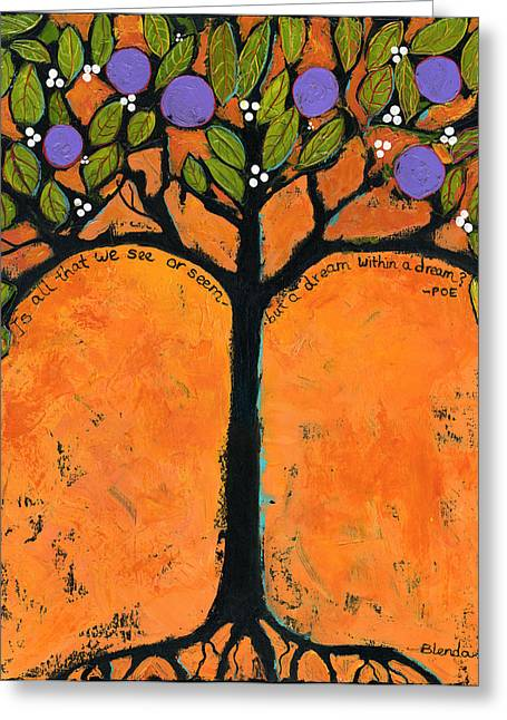 Tangerine Greeting Cards - Poe Tree Art Greeting Card by Blenda Studio