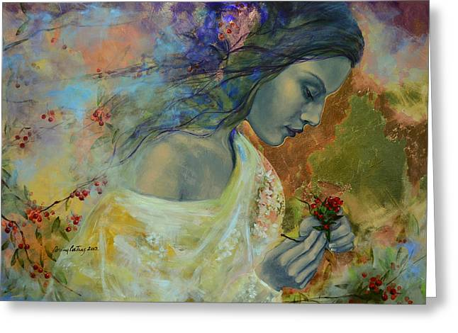 Red Berries Greeting Cards - Poem at Twilight Greeting Card by Dorina  Costras
