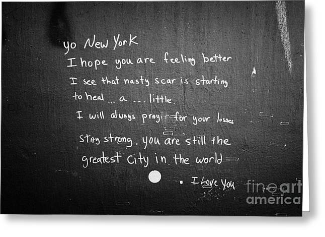 Wtc 11 Greeting Cards - Poem Left By Wellwisher Ground Zero New York City Greeting Card by Joe Fox