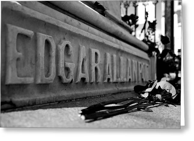 Poe's Grave Greeting Card by Jennifer Lyon
