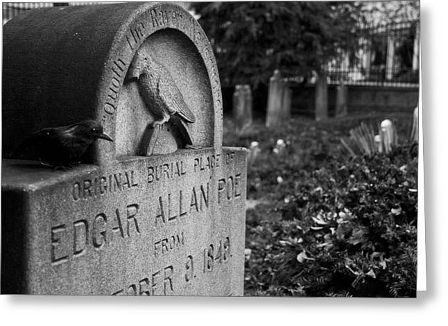 Poe's Original Grave Greeting Card by Jennifer Ancker