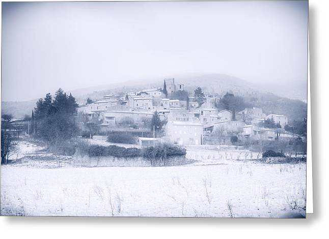 Provence Village Greeting Cards - Poet-Laval in snow  Greeting Card by Jean Gill