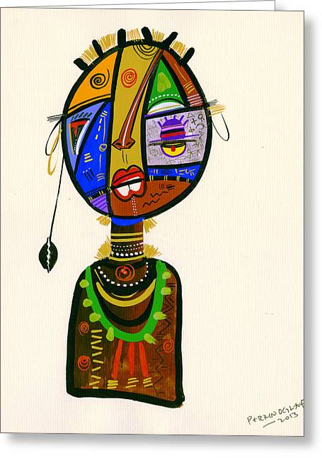 Uganda Greeting Cards - Poetic Faces, 2013 Mixed Media On Card Greeting Card by Oglafa Ebitari Perrin
