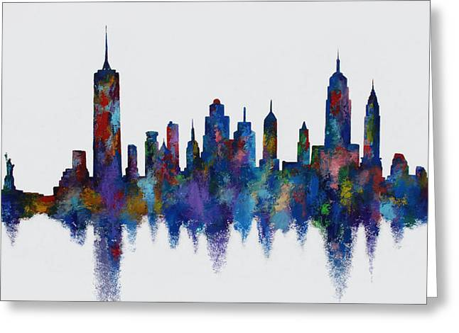 River View Mixed Media Greeting Cards - New York City Panoramic View Greeting Card by Dan Haraga