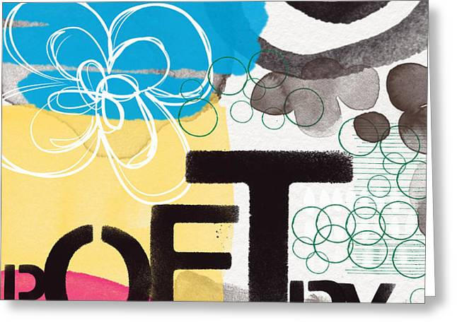 Poetry- Contemporary Abstract Painting Greeting Card by Linda Woods