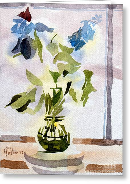 Indoor Still Life Paintings Greeting Cards - Poetry in the Window Greeting Card by Kip DeVore