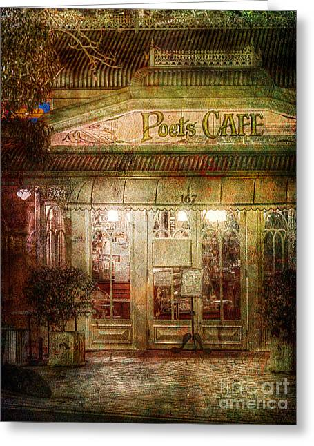 Russ Brown Greeting Cards - Poets Cafe Greeting Card by Russ Brown