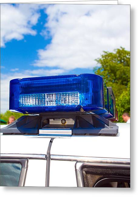 Police Cruiser Greeting Cards - Poilice Lights Greeting Card by Fizzy Image