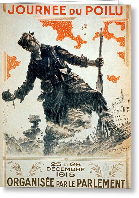 Grenade Greeting Cards - Poilu Day, 1915 Greeting Card by Maurice Louis Henri Neumont