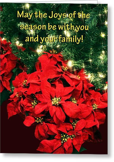 Green Burgandy Greeting Cards - Poinsettia Christmas Card Greeting Card by Linda Phelps
