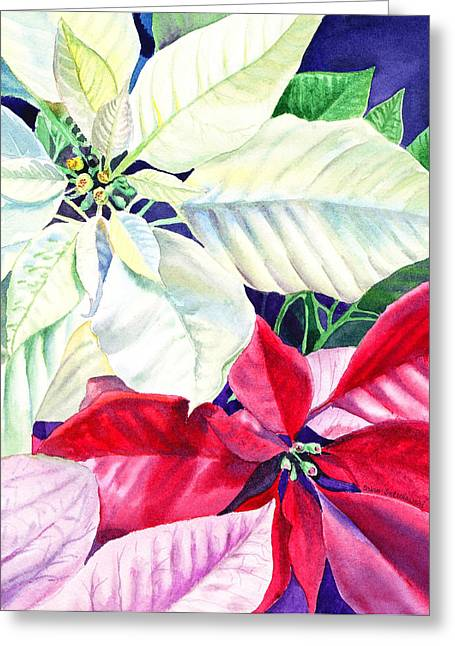 Present Paintings Greeting Cards - Poinsettia Christmas Collection Greeting Card by Irina Sztukowski