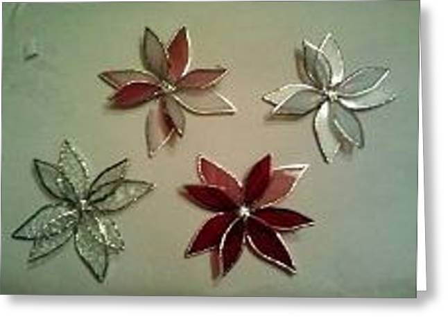 Gift Glass Greeting Cards - Poinsettia Christmas Tree Ornaments Greeting Card by Liz Shepard