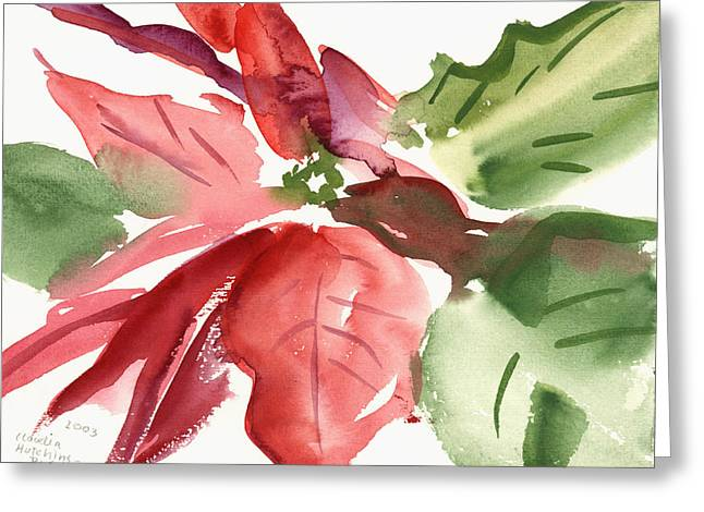Poinsettia Greeting Card by Claudia Hutchins-Puechavy