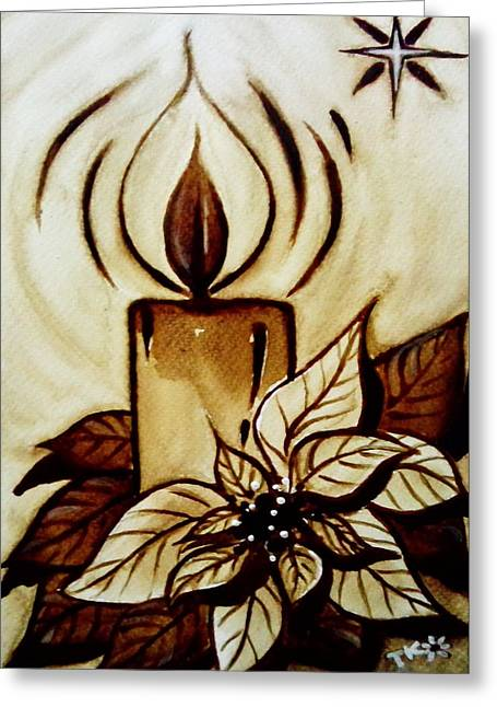 Candle Lit Drawings Greeting Cards - Poinsettia Greeting Card by Tarinee Kulchol