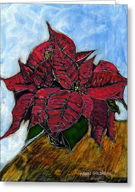 Indoor Drawings Greeting Cards - Poinsettias Greeting Card by Robert Goudreau