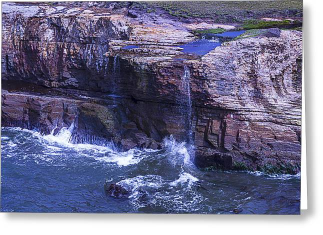 Points Greeting Cards - Point Arena Waterfall Greeting Card by Garry Gay