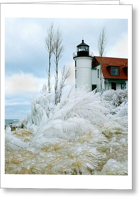 Cabin Wall Greeting Cards - Point Betsie Lighthouse in Michigan Greeting Card by Julie Ketchman