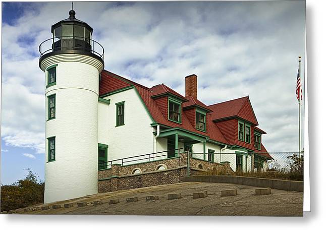 Red Wine Prints Photographs Greeting Cards - Point Betsie Lighthouse in Michigan Greeting Card by Randall Nyhof